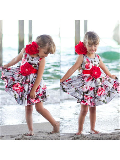 Girls Silver Floral Ruffle Tiered Sun Dress
