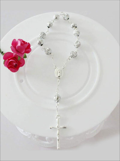 Girls Silver Rose Cross Bracelet Rosary - Similar To Image / One - Girls Accessories