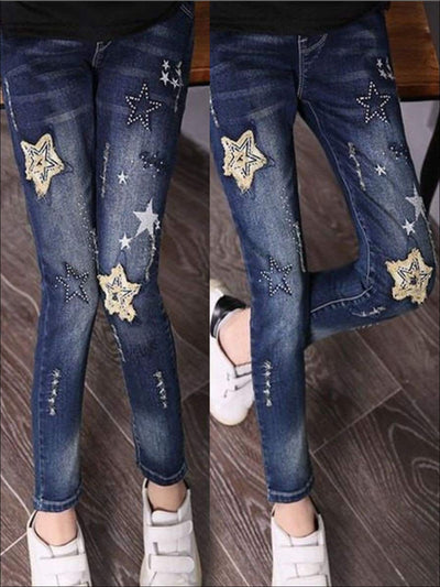 Girls Skinny Stars Patch Dark Wash Jeans - Blue / 3T - Girls Jeans