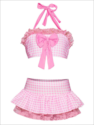 Girls Skirted Gingham Halter with Bow Detail & Eyelet Trim Swimsuit - Pink / 2T/3T - Girls Two Piece Swimsuit