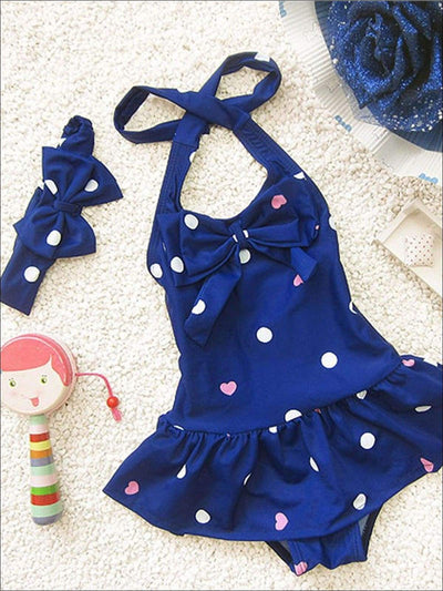 Girls Skirted Polka Dot & Heart One Piece Swimsuit With Matching Bow Headband - Navy / 2T - Girls One Piece Swimsuit