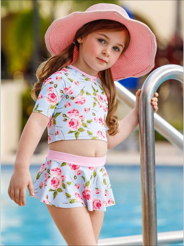 Girls Skirted Rash Guard Two Piece Swimsuit - Girls Two Piece Swimsuit