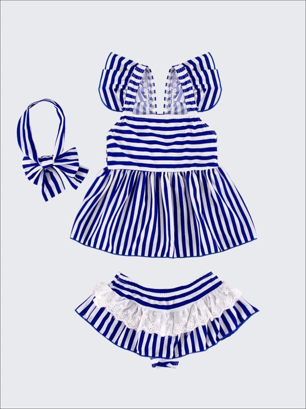 Girls Blue Skirted Striped Ruffled Flutter Sleeve Skirted Two Piece Swimsuit - Girls Two Piece Swimsuit