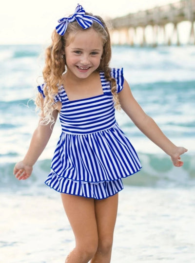 Girls Blue Skirted Striped Ruffled Flutter Sleeve Skirted Two Piece Swimsuit - Blue / 2T/3T - Girls Two Piece Swimsuit