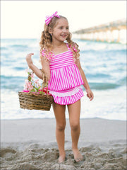 Girls Blue Skirted Striped Ruffled Flutter Sleeve Skirted Two Piece Swimsuit - Pink / 2T/3T - Girls Two Piece Swimsuit