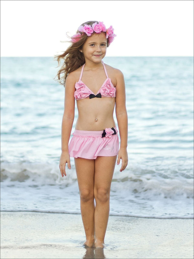 Girls Skirted Two Piece Swimsuit with Floral Detail - Girls Two Piece Swimsuit
