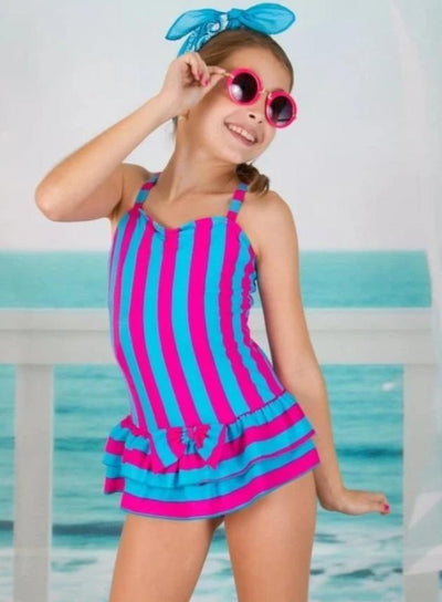 Girls Skirted Striped One Piece Swimsuit - Pink / 6Y/7Y - Girls One Piece Swimsuit