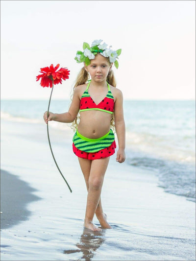 Girls Skirted Watermelon Two Piece Swimsuit - Girls Two Piece Swimsuit
