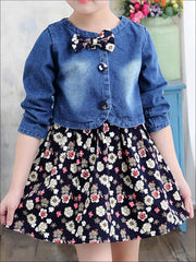 Girls Sleeveless A-Line Dress with Denim Bolero Set - Girls Fall Casual Set