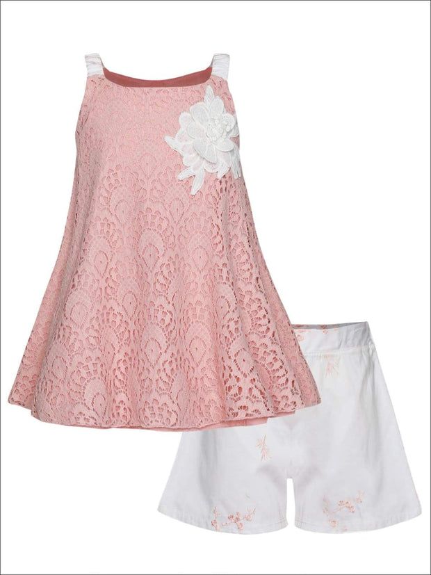 Girls Sleeveless Lace Trimmed Swing Top & Bow Shorts Set - Pink / 2T/3T - Girls Spring Casual Set