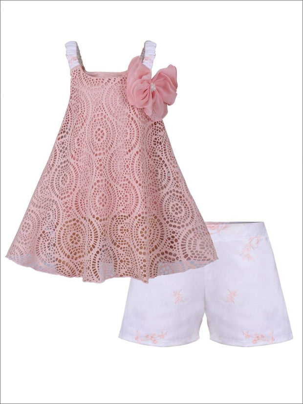 Girls Sleeveless Appliqued Lace Swing Top & Shorts Set - Pink / 2T/3T - Girls Spring Casual Set