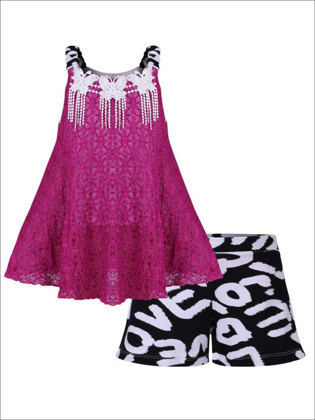 Girls Sleeveless Lace Trimmed Swing Top & Bow Shorts Set - Fuchsia / 2T/3T - Girls Spring Casual Set