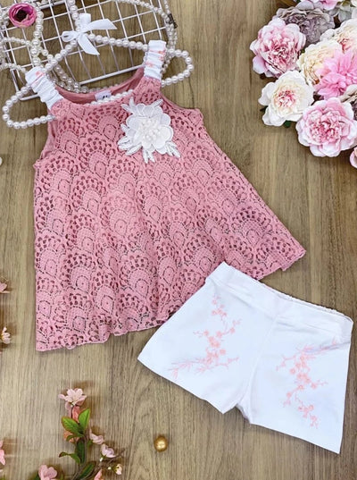 Girls Sleeveless Appliqued Lace Swing Top & Shorts Set - Girls Spring Casual Set