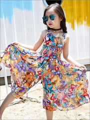 Girls Sleeveless Bohemian Style Wide Leg Jumpsuit - 5 - Girls Jumpsuit