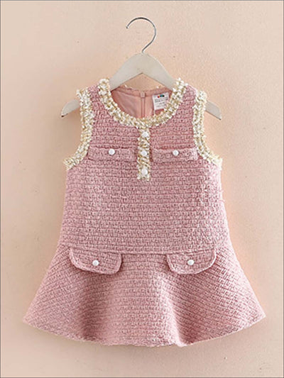 Girls Sleeveless Boho Tweed Dress - Girls Fall Dressy Dress