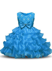 Girls Sleeveless Bow Rhinestone Lace Ruffled Flower Girl & Special Occasion Dress - blue / 3T - Girls Spring Dressy Dress