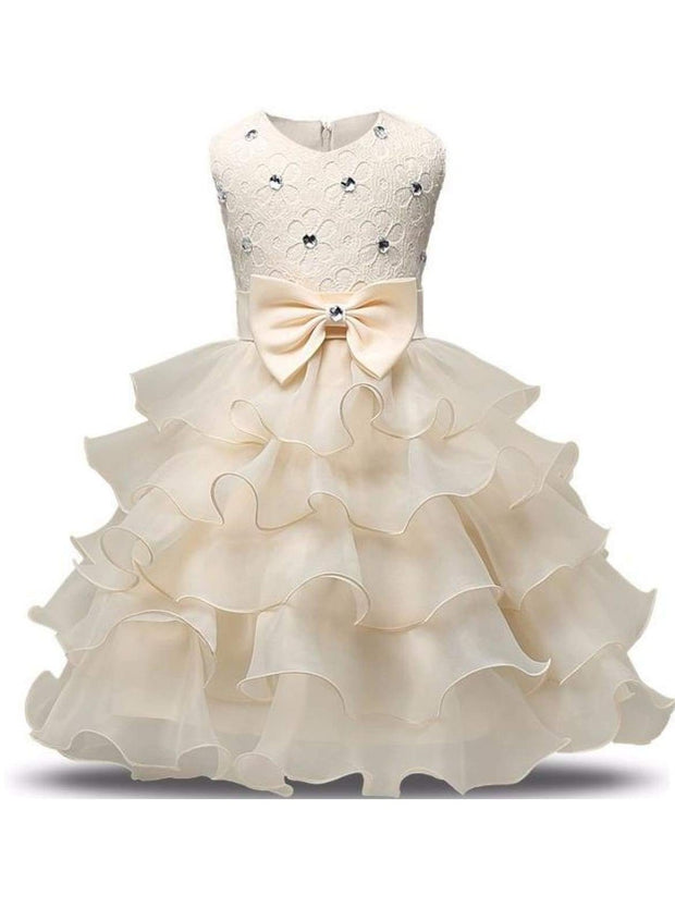 Girls Sleeveless Bow Rhinestone Lace Ruffled Flower Girl & Special Occasion Dress - creme / 3T - Girls Spring Dressy Dress