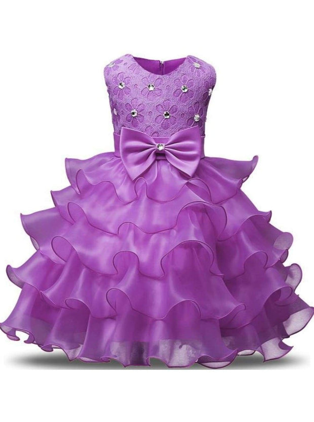 Girls Sleeveless Bow Rhinestone Lace Ruffled Flower Girl & Special Occasion Dress - purple / 3T - Girls Spring Dressy Dress