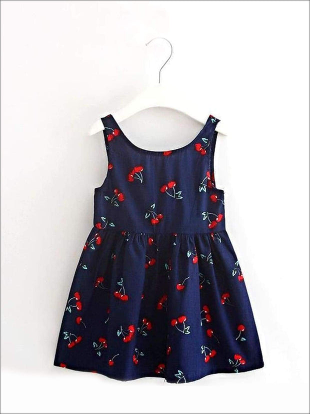 Girls Sleeveless Cherry Print Summer Dress - navy / 2T - Casual Spring Dress