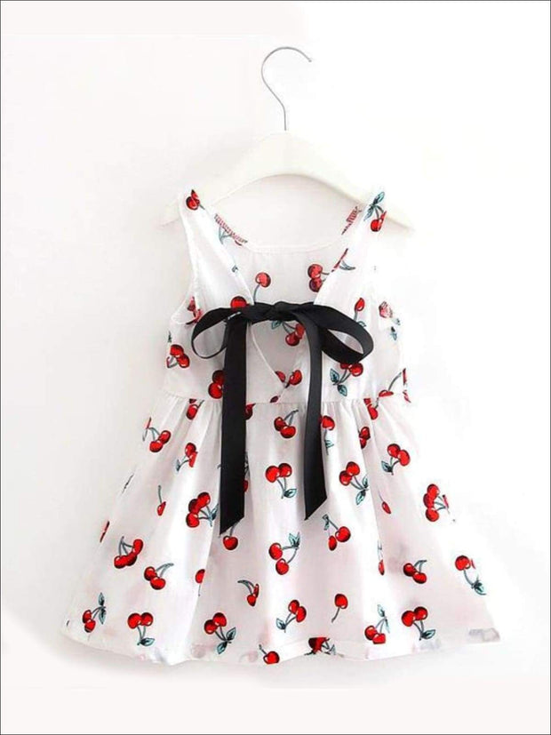 Girls Sleeveless Cherry Print Summer Dress - white / 2T - Casual Spring Dress