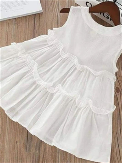 Girls Sleeveless Cotton Ruffled Summer Tunic Dress - Girls Spring Casual Dress