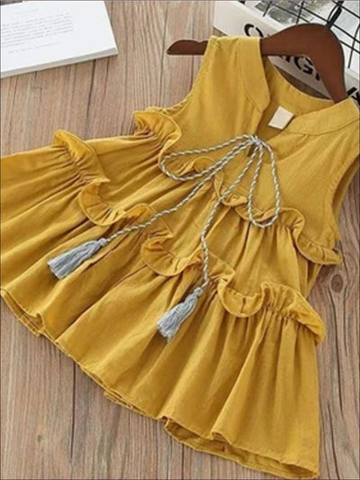Girls Sleeveless Cotton Ruffled Summer Tunic Dress - Yellow / 3T - Girls Spring Casual Dress