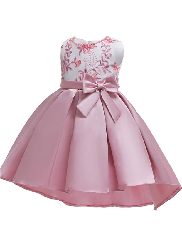 Girls Sleeveless Embroidered Bodice with Bow Party Dress - Dusty Pink / 3T - Girls Fall Dressy Dress