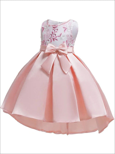 Girls Sleeveless Embroidered Bodice with Bow Party Dress - Pink / 3T - Girls Fall Dressy Dress