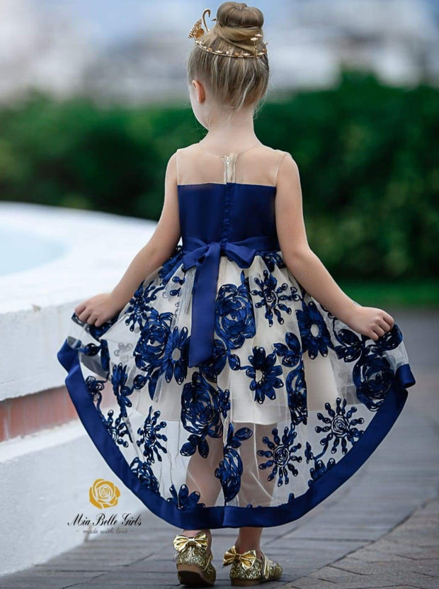 Girls Sleeveless Embroidered Chiffon Hi-Low Special Occasion Dress - Girls Fall Dressy Dress