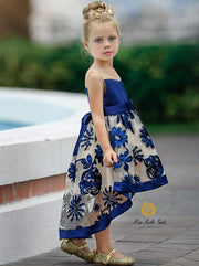 Girls Sleeveless Embroidered Chiffon Hi-Low Special Occasion Dress - Dark Blue / 2T - Girls Fall Dressy Dress