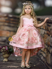Girls Sleeveless Embroidered Chiffon Hi-Low Special Occasion Dress - Dusty Pink / 2T - Girls Fall Dressy Dress