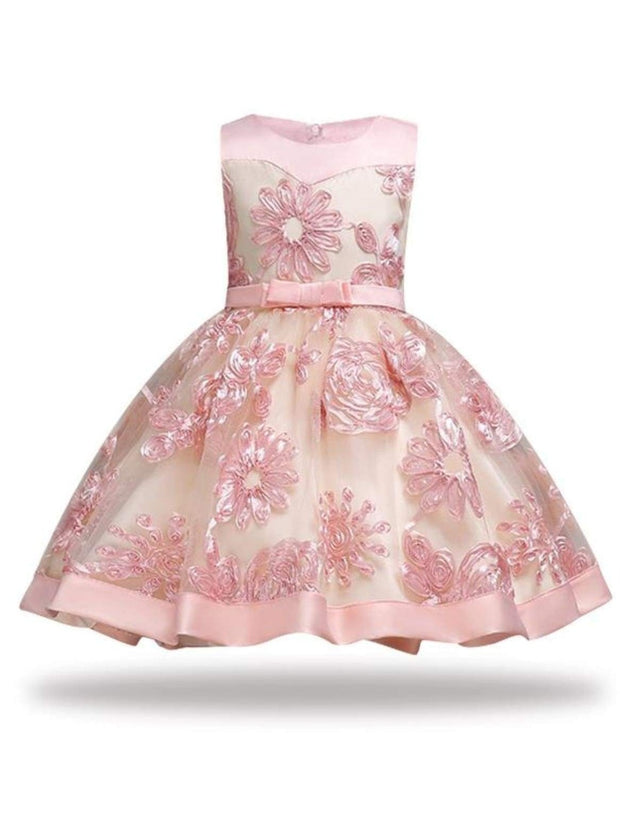 Girls Sleeveless Embroidered Chiffon Holiday Special Occasion Dress - Girls Fall Dressy Dress