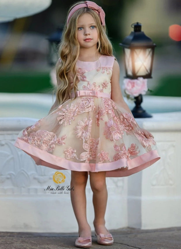 Girls Sleeveless Embroidered Chiffon Holiday Special Occasion Dress - Pink / 3T/4T - Girls Fall Dressy Dress