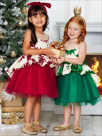 Girls Sleeveless Embroidered Peplum Holiday Dress - Girls Fall Dressy Dress