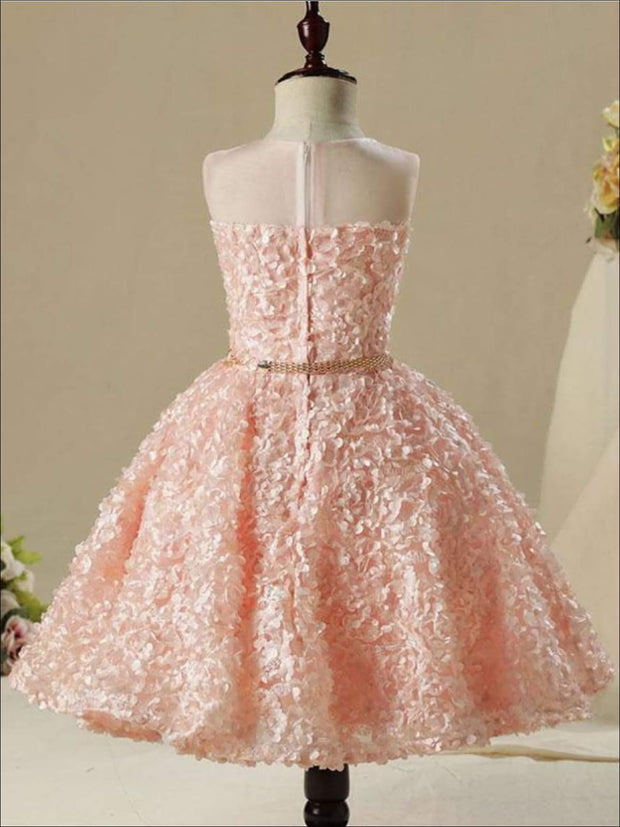 Girls Sleeveless Embroidered Rhinestone Belt Flower Girl & Special Occasion Party Dress - Girls Spring Dressy Dress