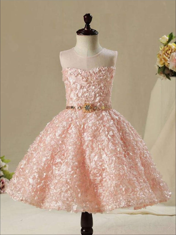 Girls Sleeveless Embroidered Rhinestone Belt Flower Girl & Special Occasion Party Dress - pink / 8 - Girls Spring Dressy Dress