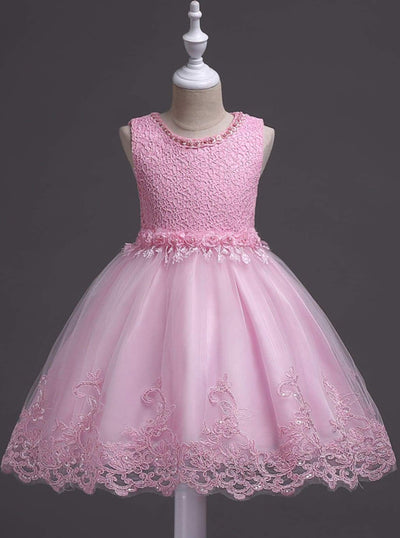 Girls sleeveless Embroidered Rose Pearl Flower Girl & Special Occasion Party Dress - Pink / 3T - Girls Spring Dressy Dress