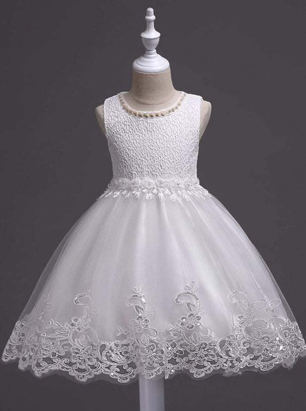 Girls sleeveless Embroidered Rose Pearl Flower Girl & Special Occasion Party Dress - White / 3T - Girls Spring Dressy Dress