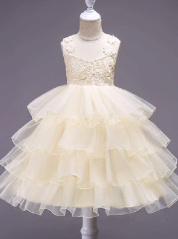 Girls Sleeveless Embroidered Ruffled Flower Girl & Special Occasion Dress - Champagne / 3T - Girls Spring Dressy Dress