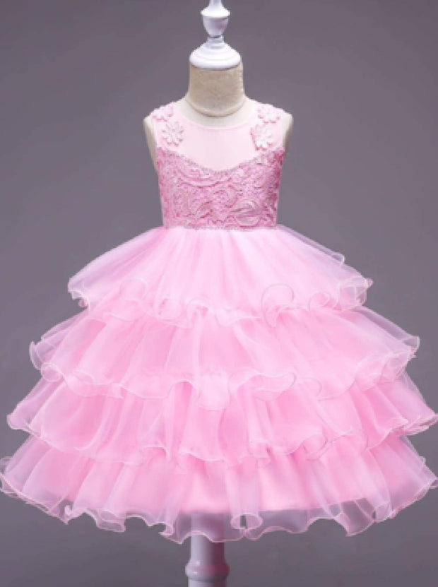 Girls Sleeveless Embroidered Ruffled Flower Girl & Special Occasion Dress - Pink / 3T - Girls Spring Dressy Dress
