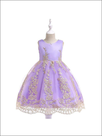 Girls Sleeveless Embroidered Special Occasion Dress - Girls Fall Dressy Dress