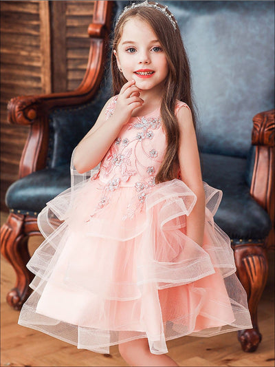 Girls Sleeveless Embroidered Tutu Princess Holiday Dress - Pink / 2T - Girls Fall Dressy Dress