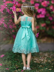 Girls Sleeveless Faux Crystal Neckline Sequin & Lace Embroidery Special Occasion Party Dress - Girls Spring Dressy Dress