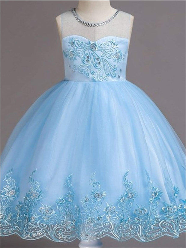 Girls Sleeveless Faux Crystal Neckline Sequin & Lace Embroidery Special Occasion Party Dress - Blue / 3T - Girls Spring Dressy Dress