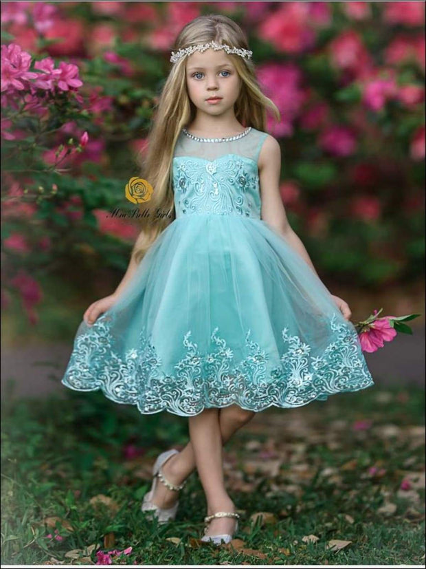 Girls Sleeveless Faux Crystal Neckline Sequin & Lace Embroidery Special Occasion Party Dress - Green / 3T - Girls Spring Dressy Dress