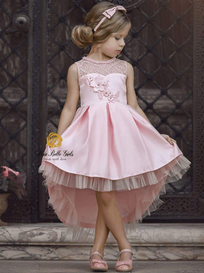 Girls Sleeveless Floral Applique Pleated Hi-Low Holiday Special Occasion Dress - Girls Fall Dressy Dress