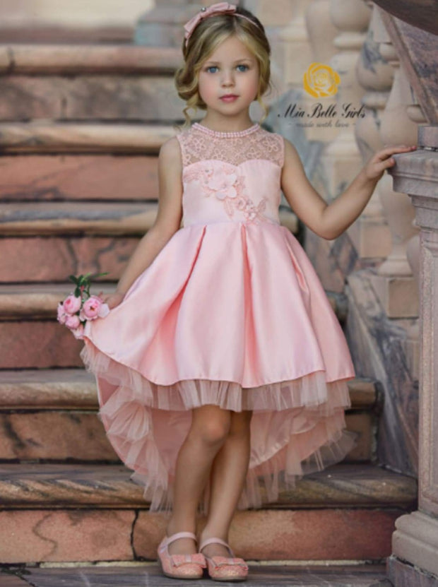 Girls Sleeveless Floral Applique Pleated Hi-Low Holiday Special Occasion Dress - Pink / 2T/3T - Girls Fall Dressy Dress