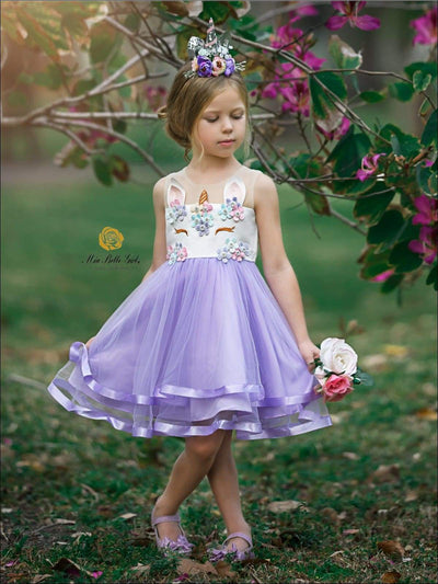 Girls Sleeveless Floral Applique Tiered Unicorn Dress - Purple / 2T - Girls Spring Dressy Dress