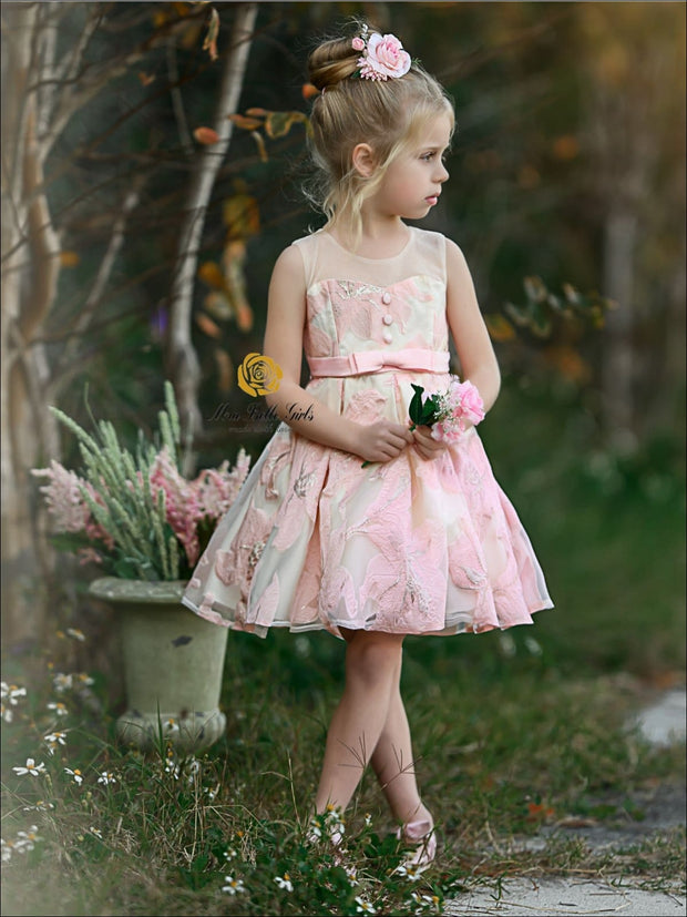 Girls Sleeveless Floral Embroidered Pleated Special Occasion Dress - Girls Spring Dressy Dress