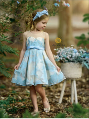 Girls Sleeveless Floral Embroidered Pleated Special Occasion Dress - Blue / 3T - Girls Spring Dressy Dress